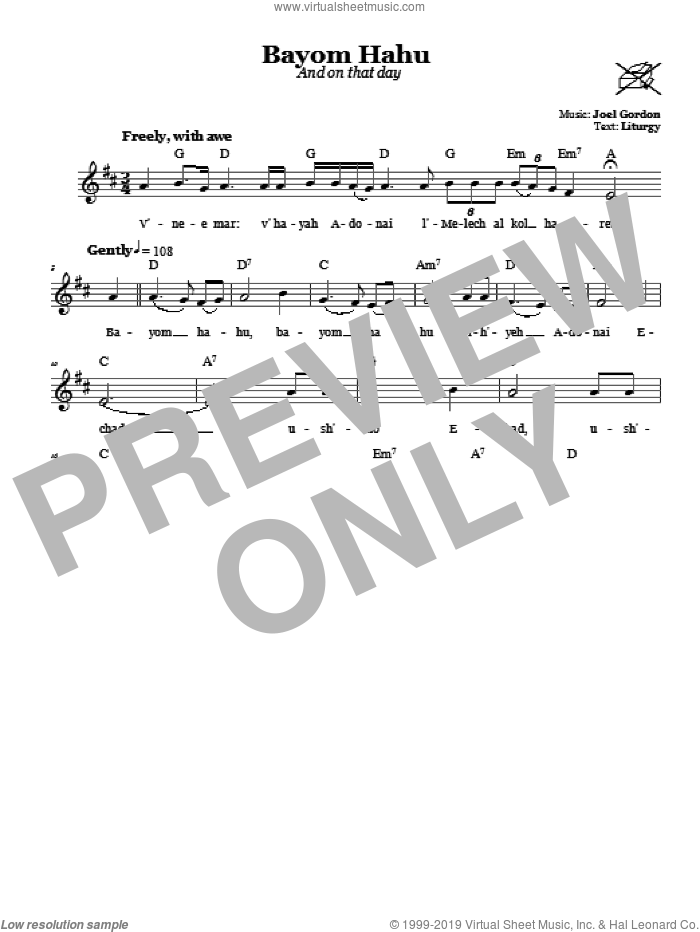 Bayom Hahu (And On That Day) sheet music for voice and other instruments (fake book) by Joel Gordon. Score Image Preview.