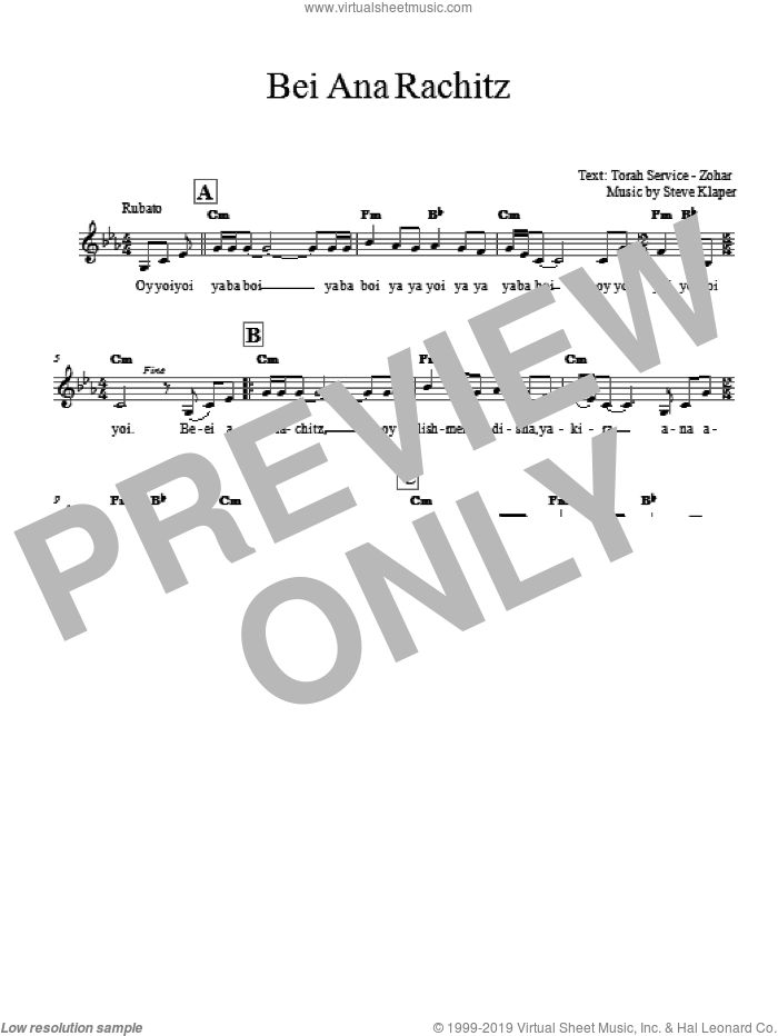 Bei Ana Rachitz sheet music for voice and other instruments (fake book) by Steve Klaper, intermediate