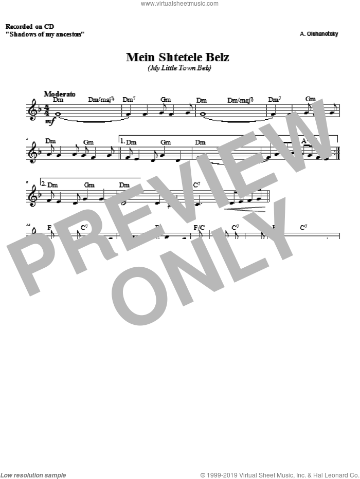 Belz sheet music for voice and other instruments (fake book) by Zinovy Goro, intermediate skill level
