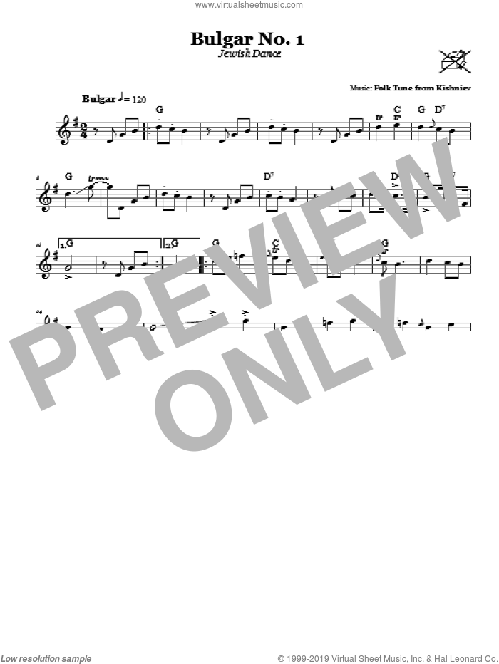 Bulgar No. 1 (Jewish Dance) sheet music for voice and other instruments (fake book). Score Image Preview.