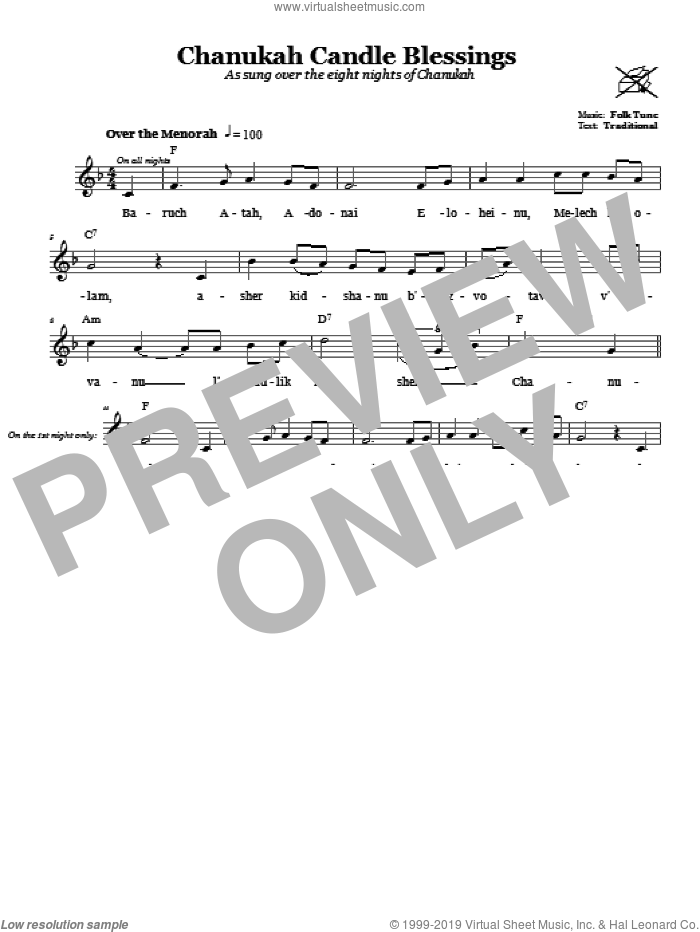Chanukah Candle Blessings sheet music for voice and other instruments (fake book), intermediate skill level