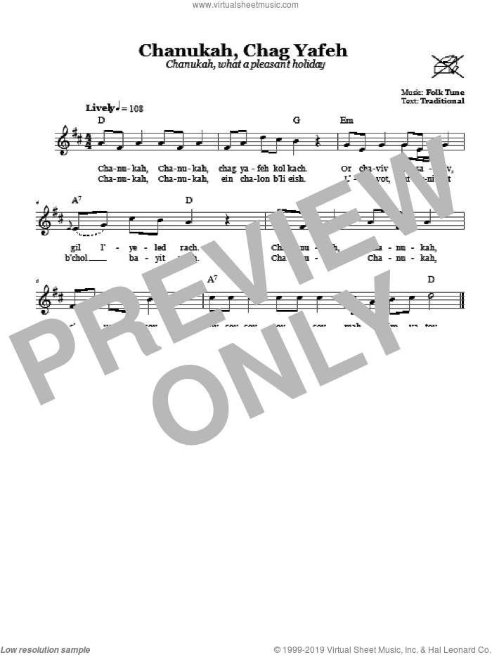 Chanukah Chag Yafeh (Chanukah, What A Pleasant Holiday) sheet music for voice and other instruments (fake book). Score Image Preview.