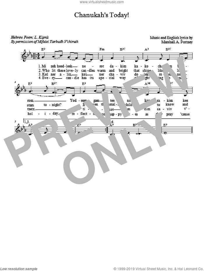Chanukah's Today sheet music for voice and other instruments (fake book) by Marshall Portnoy. Score Image Preview.