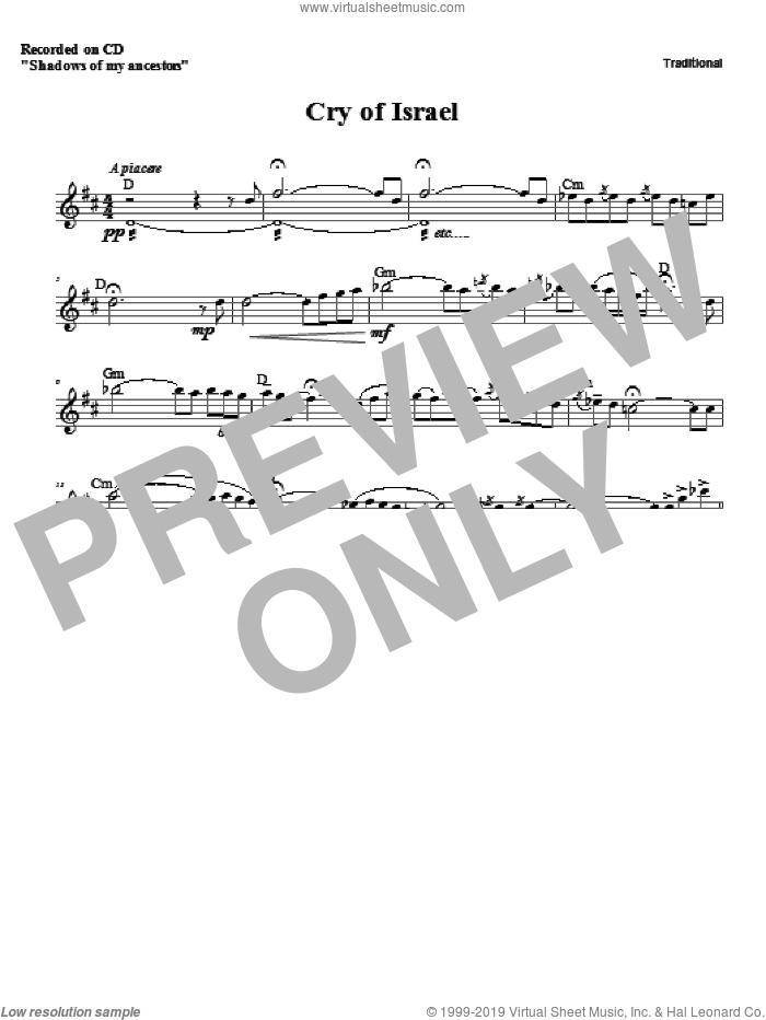 Cry of Israel sheet music for voice and other instruments (fake book) by Zinovy Goro
