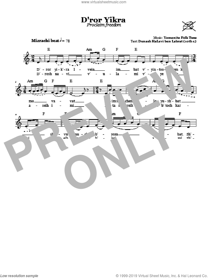 D'ror Yikra (Proclaim Freedom) sheet music for voice and other instruments (fake book), intermediate skill level