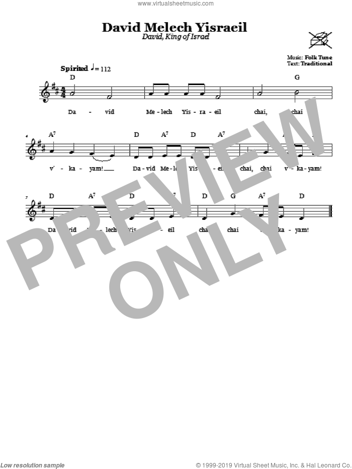 David Melech Yisraeil (David, King Of Israel) sheet music for voice and other instruments (fake book). Score Image Preview.