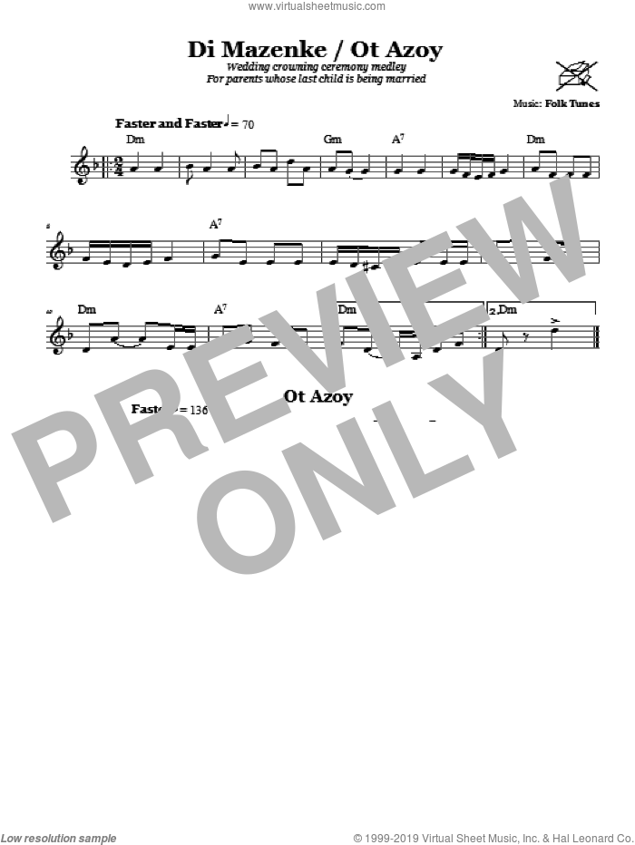 Di Mazinke/Ot Azoy (Wedding Crowning Ceremony Medley) sheet music for voice and other instruments (fake book) by Chasidic