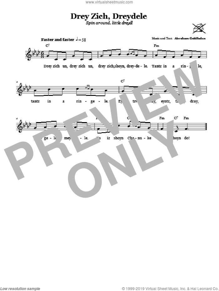 Drey Zich, Dreydele (Spin Around, Little Dreydl) sheet music for voice and other instruments (fake book) by Abraham Goldfaden, intermediate voice. Score Image Preview.