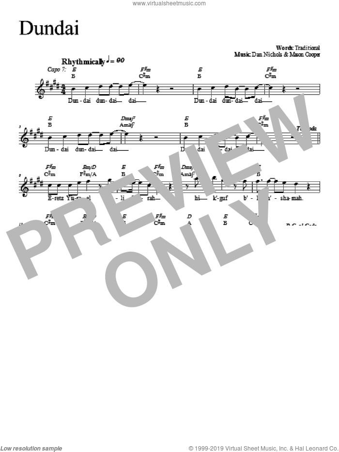 Dundai sheet music for voice and other instruments (fake book) by Dan Nichols, intermediate skill level