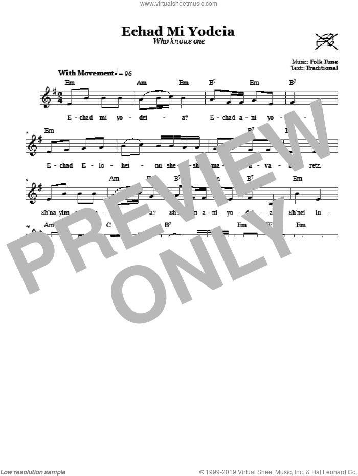 Echad Mi Yodeia (Who Knows One) sheet music for voice and other instruments (fake book). Score Image Preview.