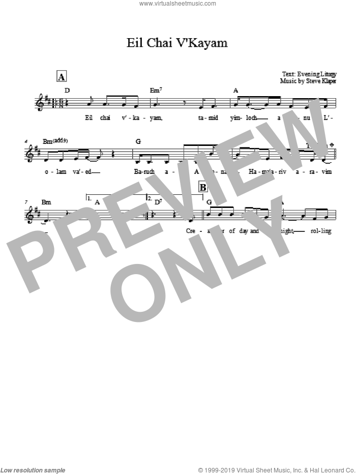 Eil Chai V'kayam sheet music for voice and other instruments (fake book) by Steve Klaper. Score Image Preview.