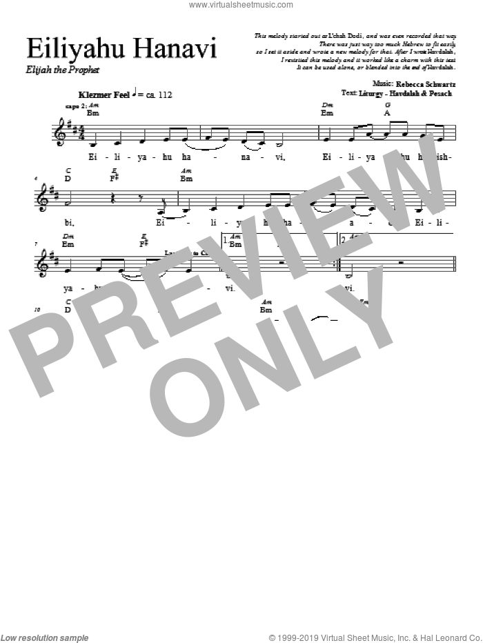Eiliyahu Hanavi sheet music for voice and other instruments (fake book) by Rebecca Schwartz. Score Image Preview.
