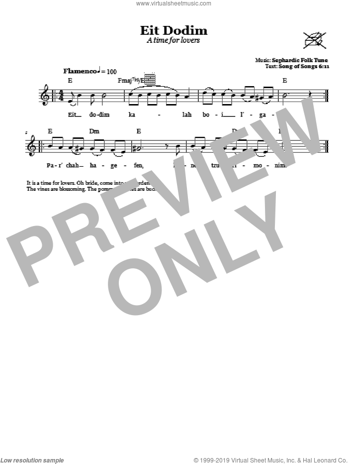 Eit Dodim (A Time For Lovers) sheet music for voice and other instruments (fake book)