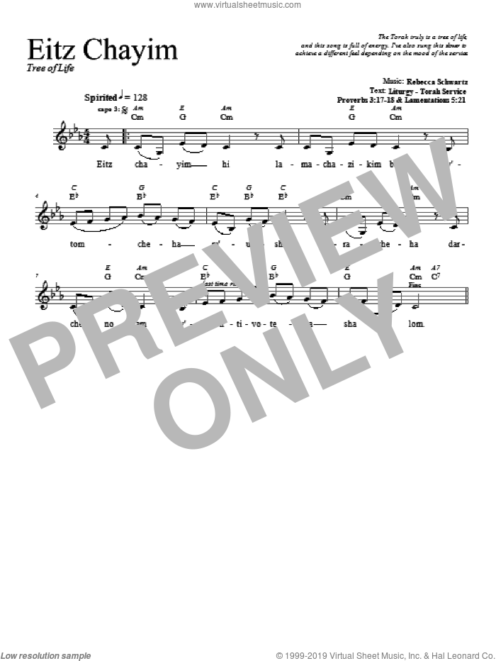 Eitz Chayim sheet music for voice and other instruments (fake book) by Rebecca Schwartz. Score Image Preview.