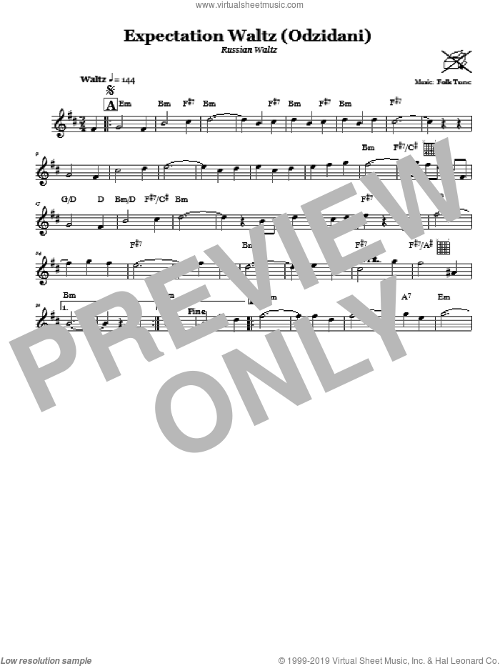 Expectation Waltz (Odzidani) (Russian Waltz) sheet music for voice and other instruments (fake book), intermediate skill level