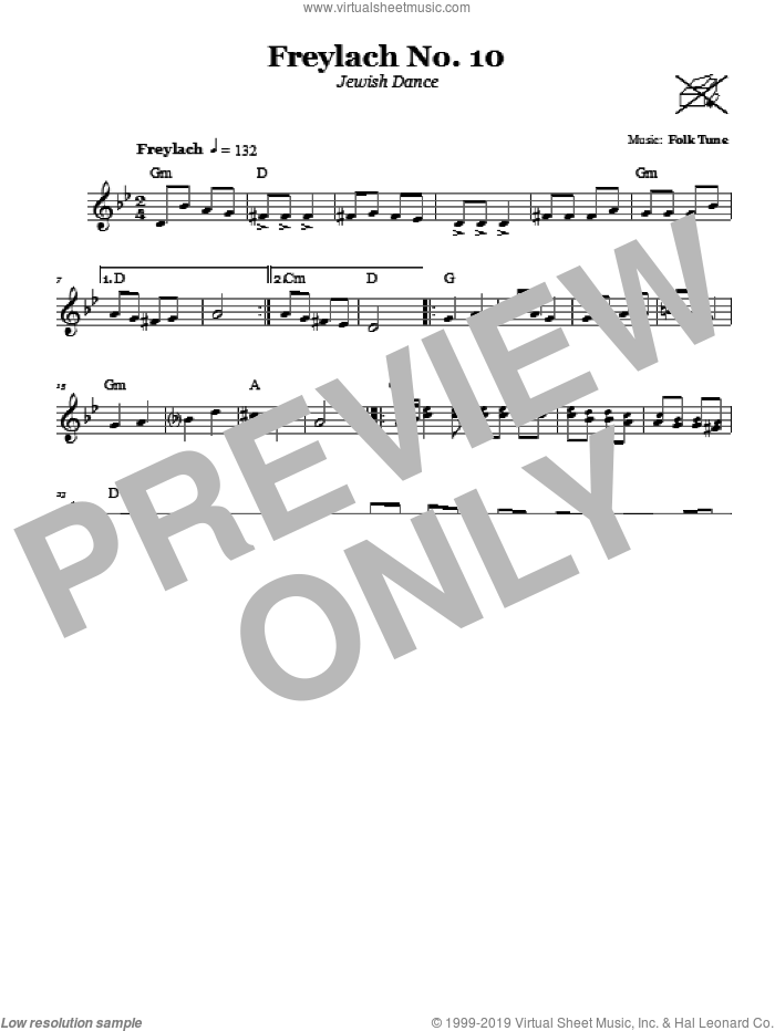 Freylach No. 10 (Jewish Dance) sheet music for voice and other instruments (fake book). Score Image Preview.