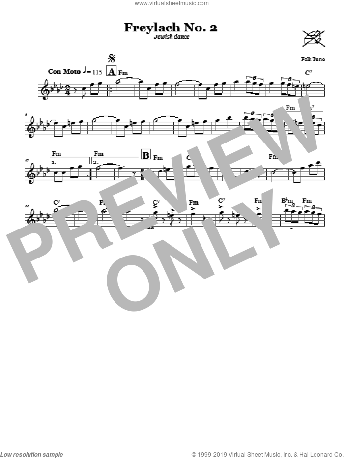 Freylach No. 2 (Jewish Dance) sheet music for voice and other instruments (fake book), intermediate