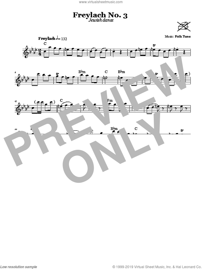 Freylach No. 3 (Jewish Dance) sheet music for voice and other instruments (fake book). Score Image Preview.