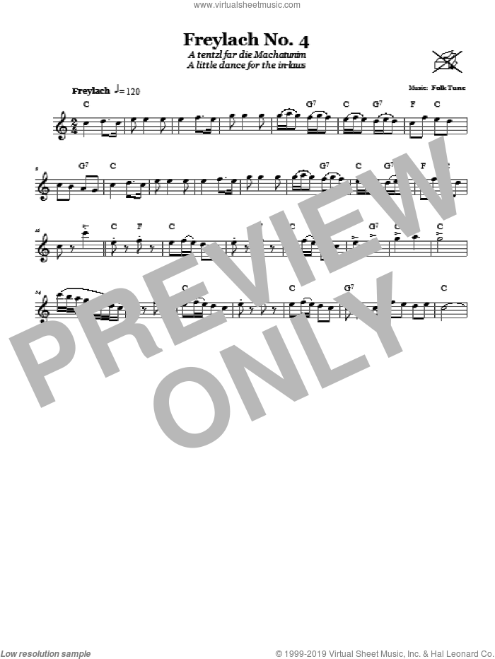 Freylach No. 4 (A Tentzl Far Die Machantunim (A Little Dance For The In-Laws)) sheet music for voice and other instruments (fake book). Score Image Preview.