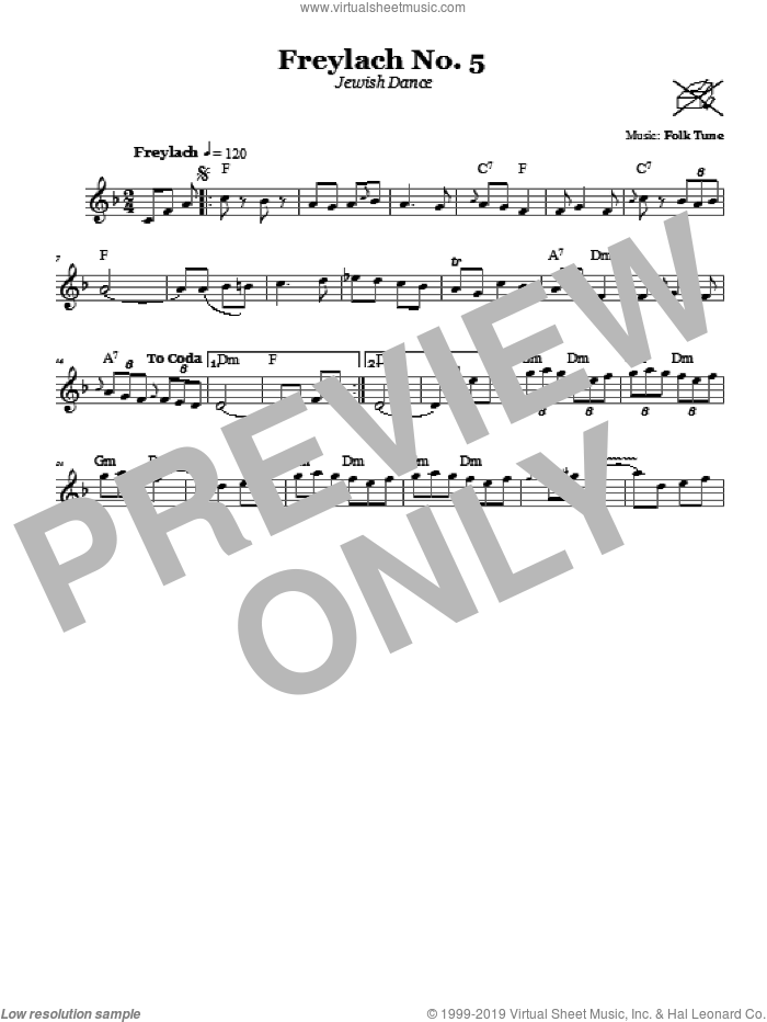 Freylach No. 5 (Jewish Dance) sheet music for voice and other instruments (fake book). Score Image Preview.