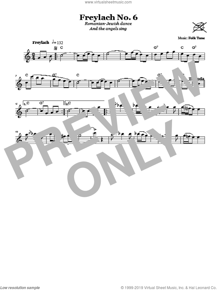 Freylach No. 6 (Romanian-Jewish Dance (And The Angels Sing)) sheet music for voice and other instruments (fake book). Score Image Preview.