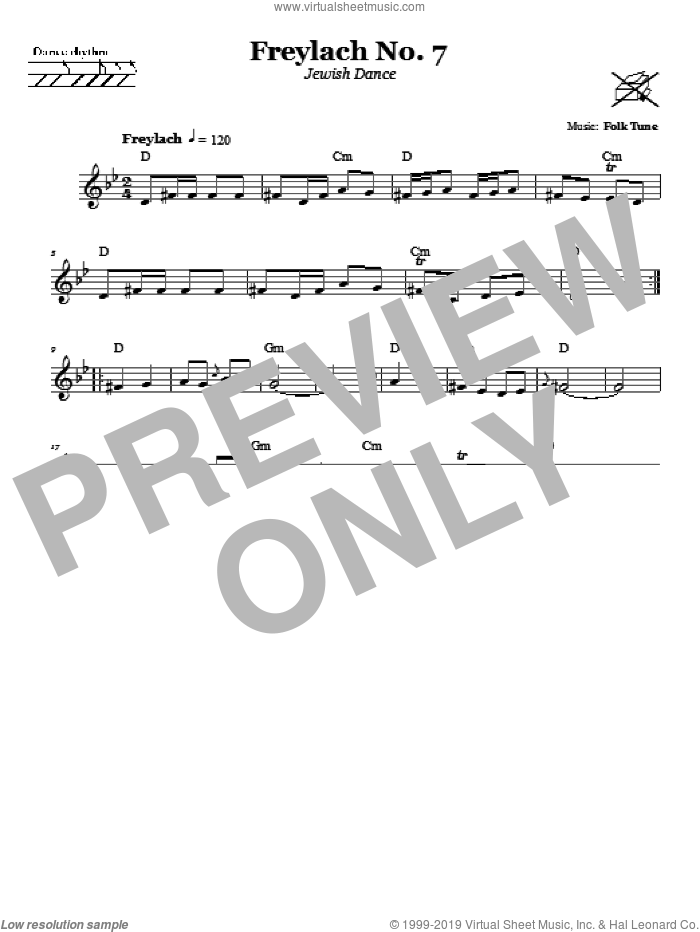 Freylach No. 7 (Jewish Dance) sheet music for voice and other instruments (fake book), intermediate. Score Image Preview.