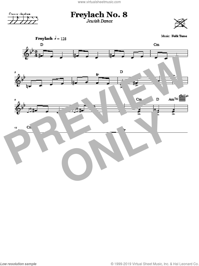 Freylach No. 8 (Jewish Dance) sheet music for voice and other instruments (fake book). Score Image Preview.