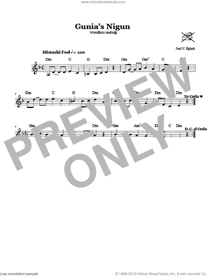 Gunia's Nigun (Wordless Melody) sheet music for voice and other instruments (fake book) by Joel N. Eglash, intermediate skill level