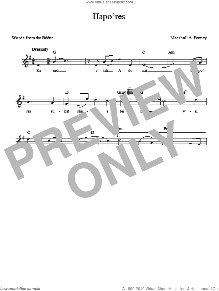 Hapo'res sheet music for voice and other instruments (fake book) by Marshall Portnoy, intermediate
