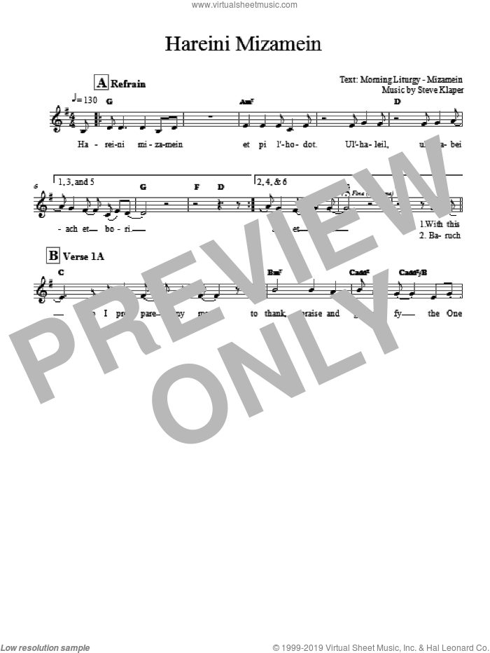 Hareini Mizamein sheet music for voice and other instruments (fake book) by Steve Klaper. Score Image Preview.