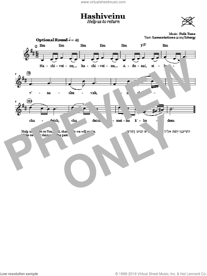Hashiveinu (Help Us To Return) sheet music for voice and other instruments (fake book). Score Image Preview.