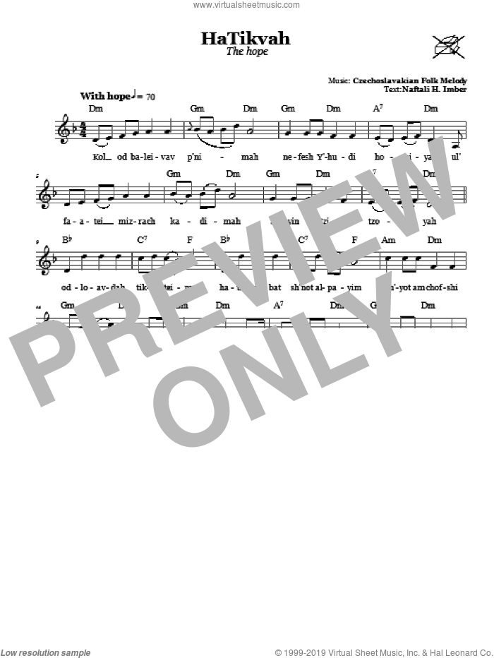 HaTikvah (The Hope) sheet music for voice and other instruments (fake book) by Naftali Herz Imber. Score Image Preview.