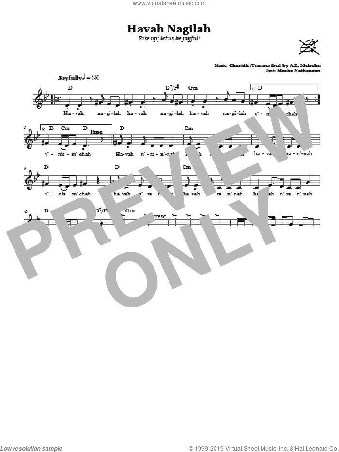 Havah Nagilah (Rise Up; Let Us Be Joyful!) sheet music for voice and other instruments (fake book) by A.Z. Idelsohn and Moshe Nathanson, intermediate. Score Image Preview.