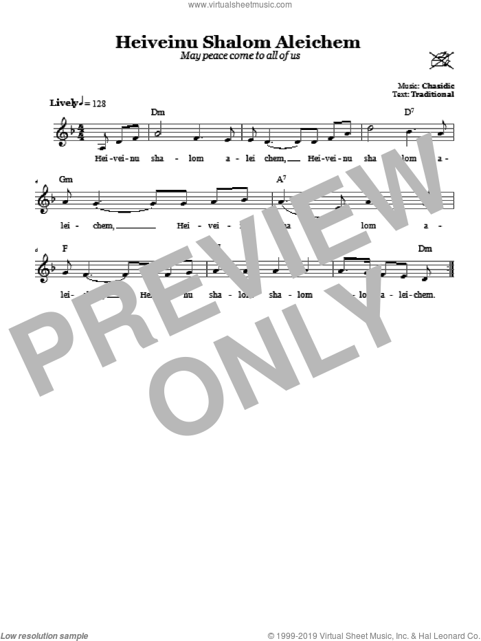 Heiveinu Shalom Aleichem (May Peace Come To All Of You) sheet music for voice and other instruments (fake book) by Chasidic. Score Image Preview.