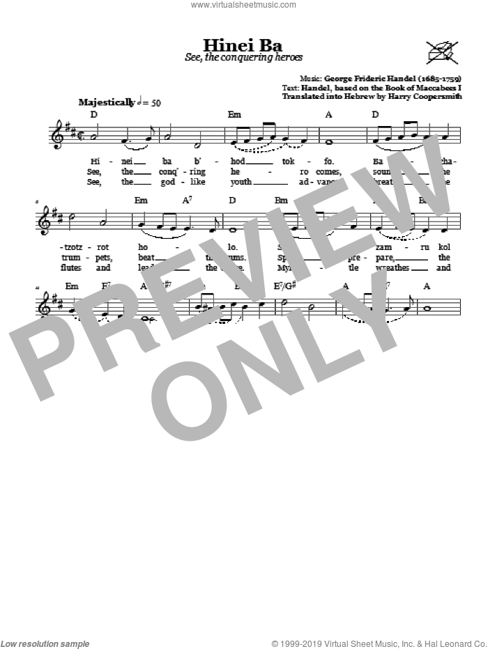 Hinei Ba (See, The Conquering Heroes) sheet music for voice and other instruments (fake book) by George Frideric Handel