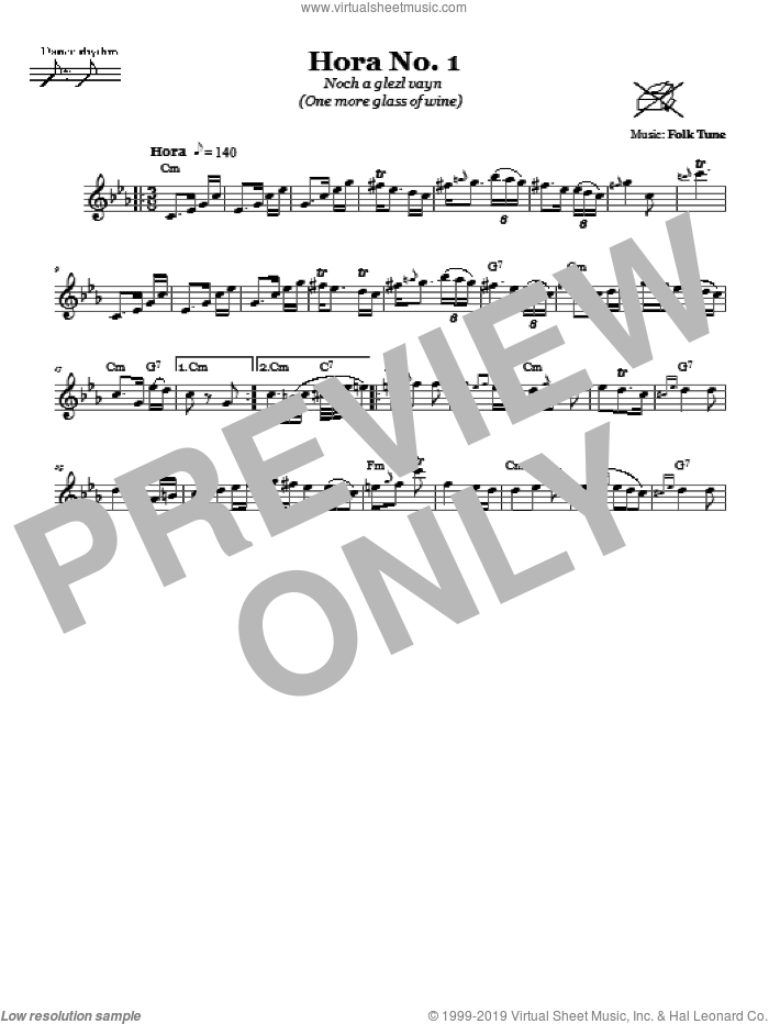 Hora No. 1 (Noch A Glezl Vayn (One More Glass Of Wine)) sheet music for voice and other instruments (fake book), intermediate. Score Image Preview.