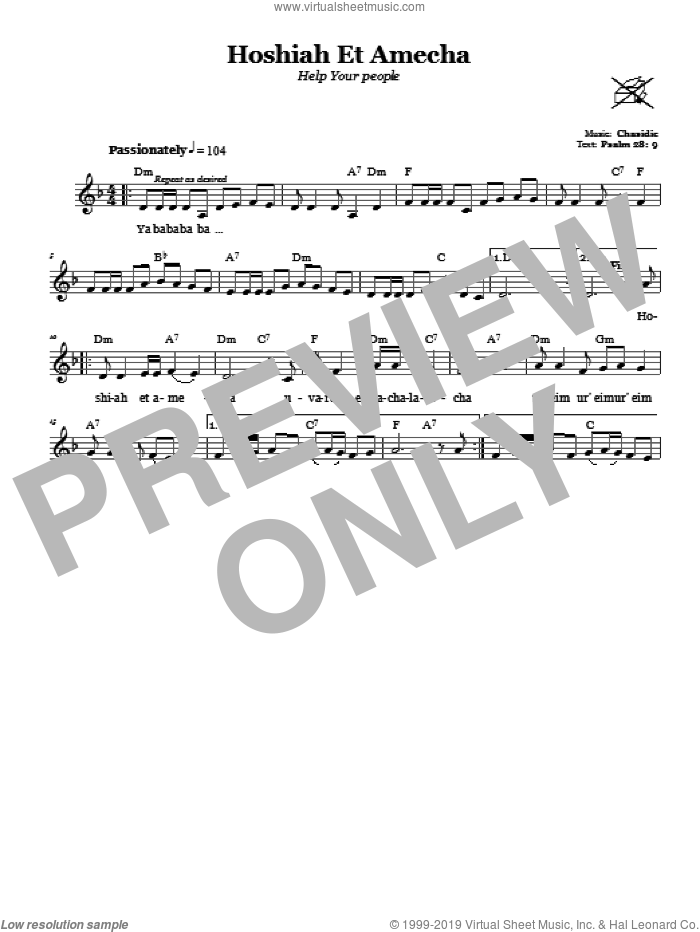 Hoshiah Et Amecha (Help Your People) sheet music for voice and other instruments (fake book) by Chasidic. Score Image Preview.