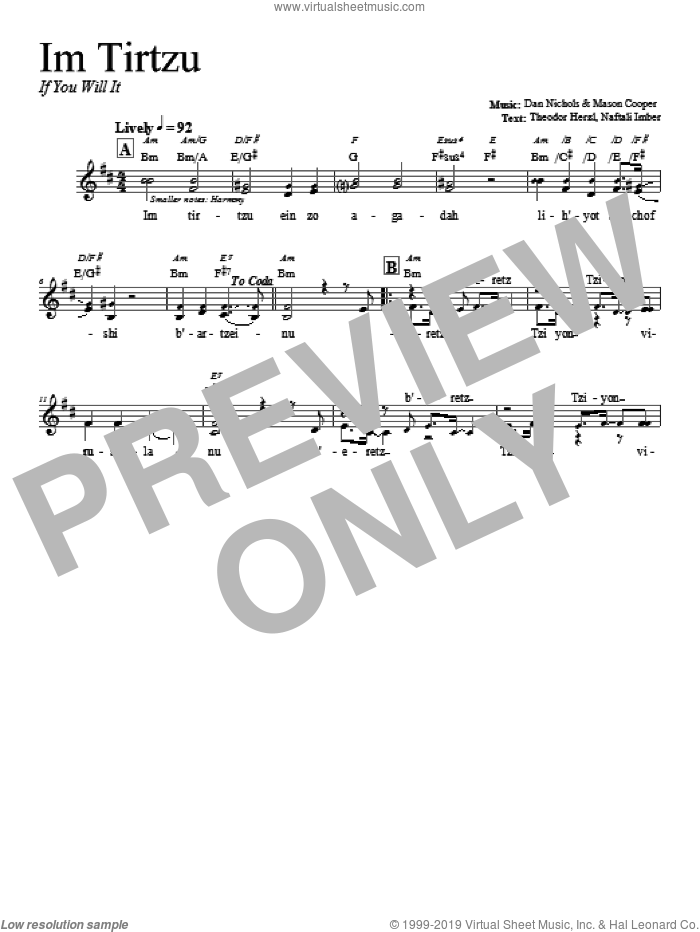 Im Tirtzu sheet music for voice and other instruments (fake book) by Dan Nichols. Score Image Preview.