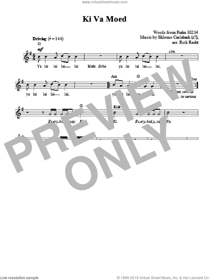 Ki Va Moed sheet music for voice and other instruments (fake book) by Rick Recht and Shlomo Carlebach. Score Image Preview.