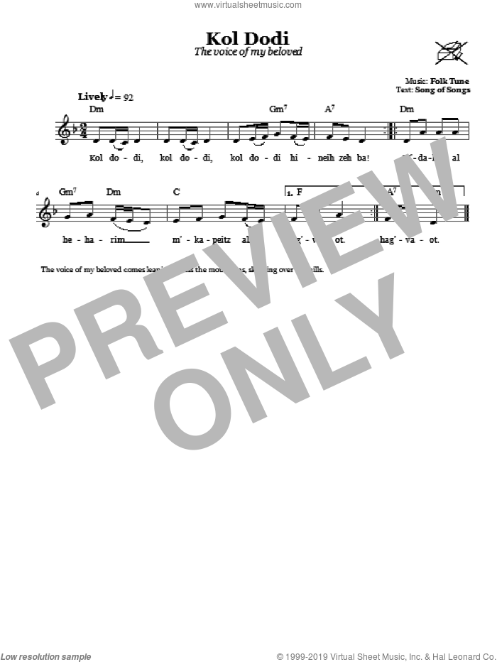 Kol Dodi (The Voice Of My Beloved) sheet music for voice and other instruments (fake book). Score Image Preview.
