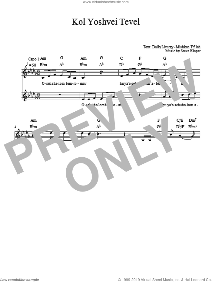Kol Yoshvei Tevel sheet music for voice and other instruments (fake book) by Steve Klaper. Score Image Preview.