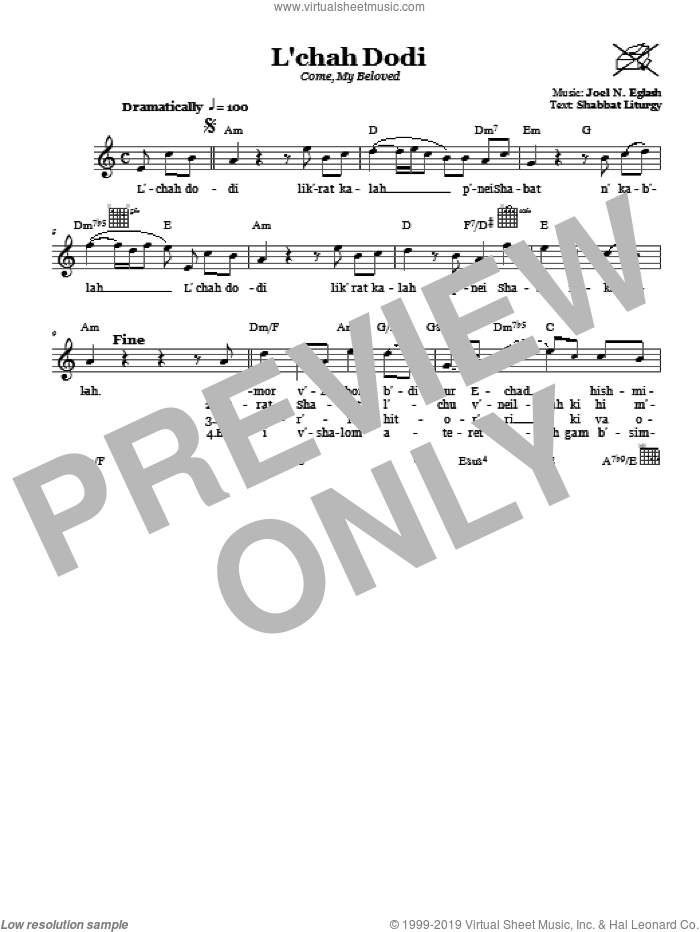 L'chah Dodi (Come, My Beloved) sheet music for voice and other instruments (fake book) by Joel N. Eglash. Score Image Preview.
