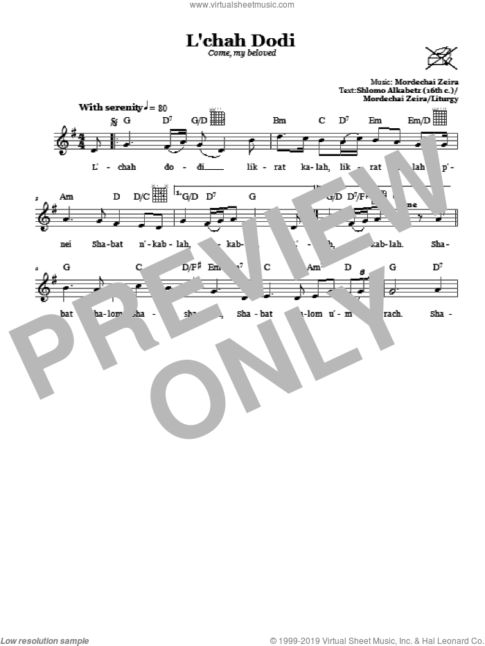 L'chah Dodi (Come, My Beloved) sheet music for voice and other instruments (fake book) by Mordechai Zeira, intermediate voice. Score Image Preview.
