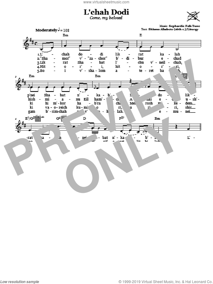 L'chah Dodi (Come, My Beloved) sheet music for voice and other instruments (fake book). Score Image Preview.