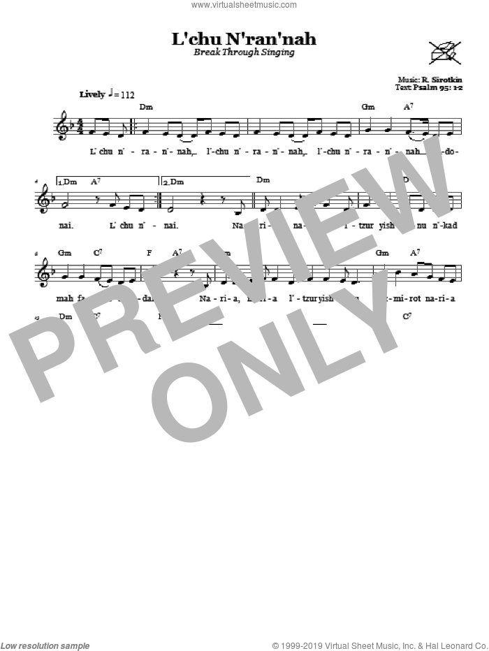 L'chu N'ran'nah (Break Through Singing) sheet music for voice and other instruments (fake book) by R. Sirotkin. Score Image Preview.