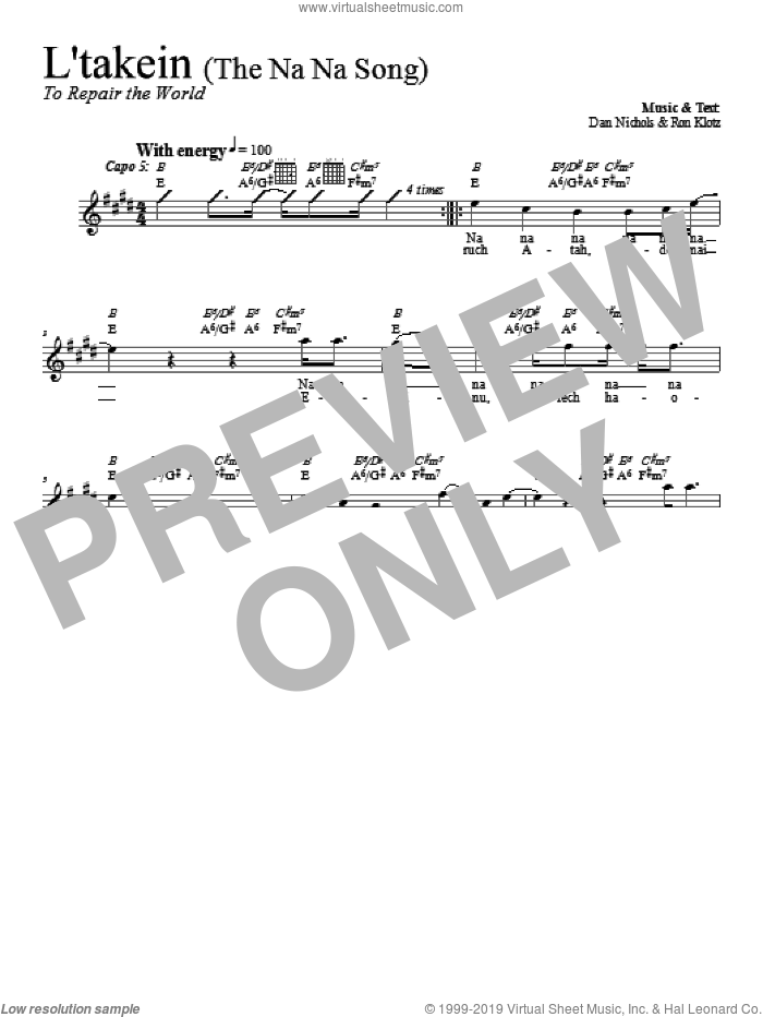 L'takein (The Na Na Song) sheet music for voice and other instruments (fake book) by Dan Nichols, intermediate. Score Image Preview.