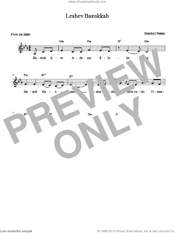 Leshev Basukkah sheet music for voice and other instruments (fake book) by Marshall Portnoy. Score Image Preview.