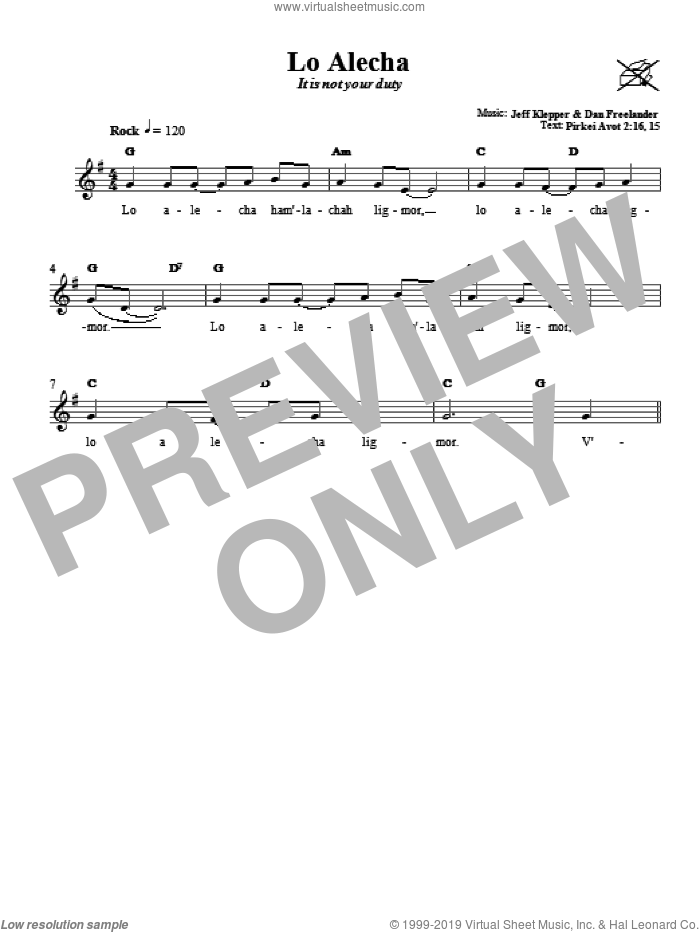 Lo Alecha (It Is Not Your Duty) sheet music for voice and other instruments (fake book) by Jeff Klepper and Dan Freelander, intermediate. Score Image Preview.