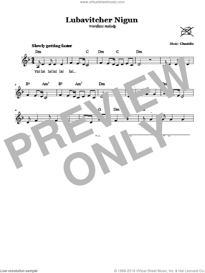 Lubavitcher Nigun (Wordless Melody) sheet music for voice and other instruments (fake book) by Chasidic. Score Image Preview.