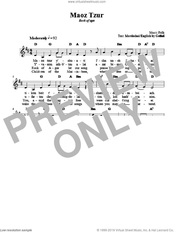 Maoz Tzur sheet music for voice and other instruments (fake book). Score Image Preview.